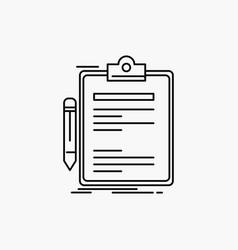 contract check business done clip board line icon vector image
