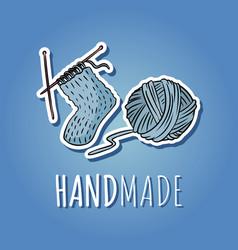 Cotton yarn ball and knitted sock handmade logo vector