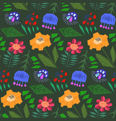 Cute green pattern with doodle color flowers vector