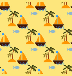 desert island and sailing ship vector image