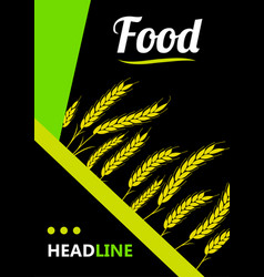 Design cover gold wheat ears organic wheat bread vector