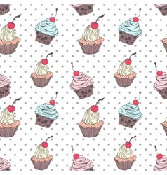 Doodle cupcakes pattern vector image