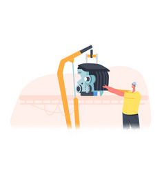 Factory worker male character managing assembly vector