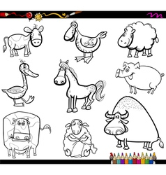 Farm animals set coloring book vector