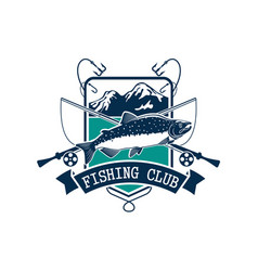 Fishing club icon with salmon fish vector