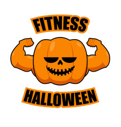 Fitness halloween pumpkin with muscles vegetable vector