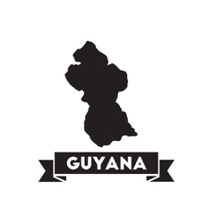 Flat icon in black and white maps of Guyana vector