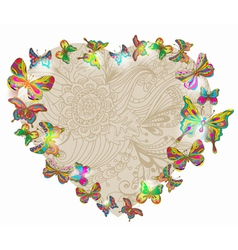 floral heart with butterfly vector image