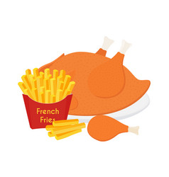fried chicken legs wings french fries vector image