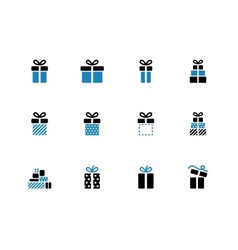 Gift box duotone icons on white background vector image