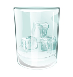 Glass of ice on white vector