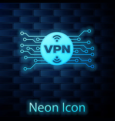 Glowing neon vpn in circle with microchip circuit vector