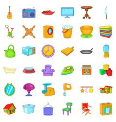 Good house icons set cartoon style vector