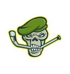 green beret skull ice hockey mascot vector image