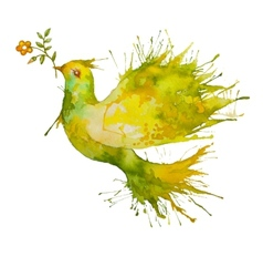 Green Dove flying with flower branch vector