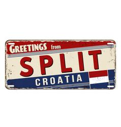 Greetings from split vintage rusty metal plate vector
