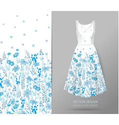 hand drawn floral pattern on dress mockup vector image