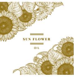 hand drawn sunflower design template vintage vector image