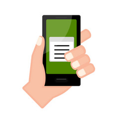 Hand holding a smartphone with a paper icon vector