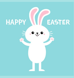 Happy easter rabbit bunny standing and holding vector