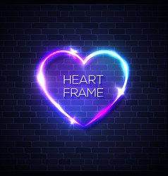 heart neon realistic sign on brick texture wall vector image