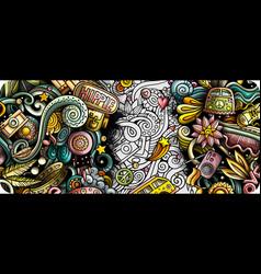 hippie hand drawn doodle banner cartoon detailed vector image