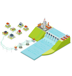 Hydro power plant 3d isometric electricity vector