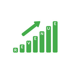 Icon concept of revenue sales bar graph moving up vector
