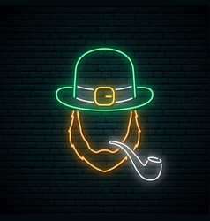 irishman with smoking pipe neon sign vector image