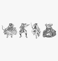 Japanese samurai set warriors with weapons sketch vector