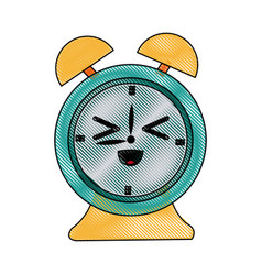 kawaii clock alarm time school icon vector image