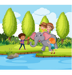 kids riding elephant in nature vector image