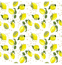 Lemon bright seamless pattern with seeds in vector