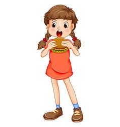 Little girl eating hamburger vector image