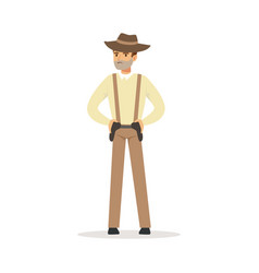 Mafia man character in brown fedora hat holding vector