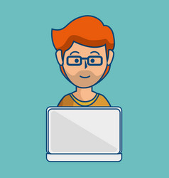 Man using laptop icon vector