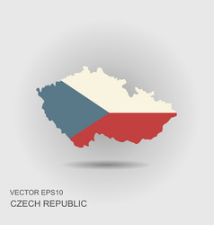 map and flag czech republic vector image