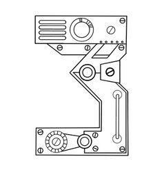 Mechanical number 3 engraving vector