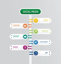 Modern banner button with social icon design vector