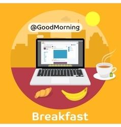 Modern breakfast - Reading the morning news vector image