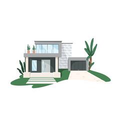 Modern minimalistic architecture block house vector