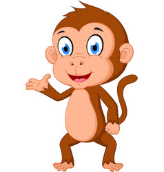 monkey cartoon presenting vector image
