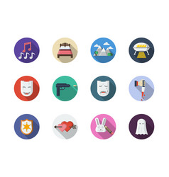 Movie genres flat round color icons set vector