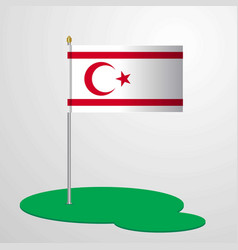 Northern cyprus flag pole vector