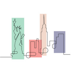 one line sketch style new york city skyline icon vector image