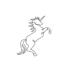 one single line drawing cute jumping unicorn vector image