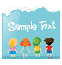 paper design wtih many children vector image