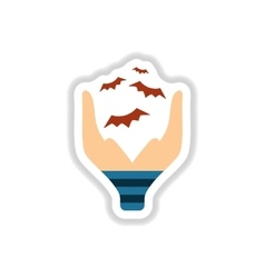 Paper sticker on background of hand bat vector