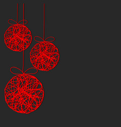Red christmas decor balls on dark background vector