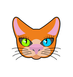 red-headed cat face isolated pet on green vector image